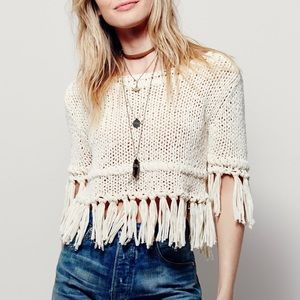 Free People On The Fringe Pullover ivory Large